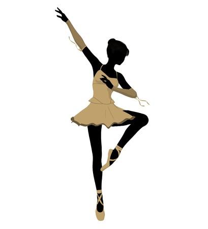 Ballerina silhouette on a white background Stock Photo - 7730476