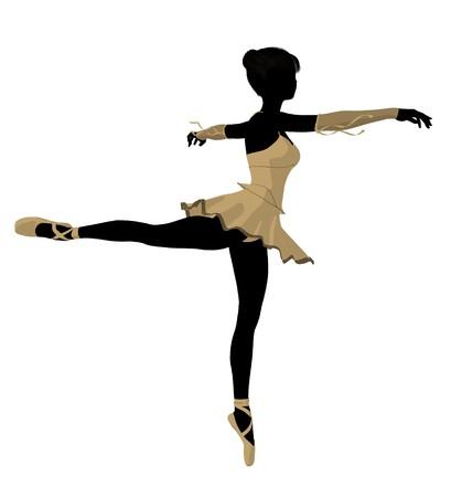 flexible girl: Ballerina silhouette on a white background Stock Photo