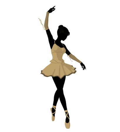 Ballerina silhouette on a white background 写真素材