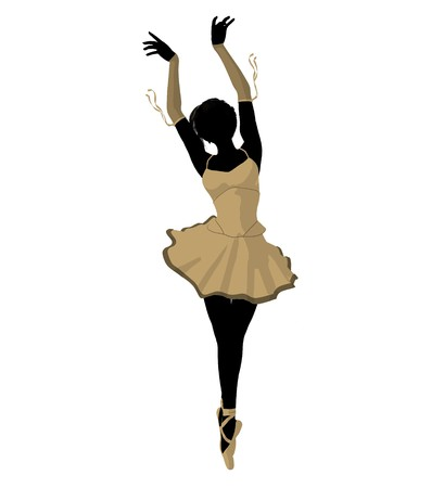 Ballerina silhouette on a white background Stock Photo - 7730457