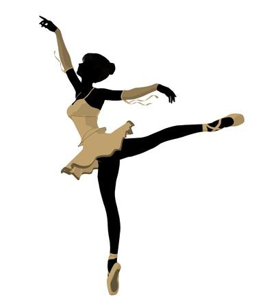 Ballerina silhouette on a white background Stock Photo - 7730570