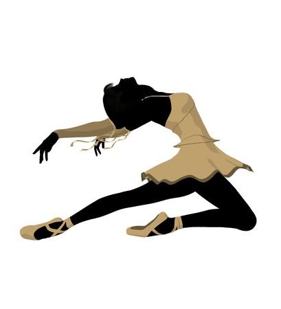 divas: Silueta de bailarina de ballet sobre un fondo blanco  Foto de archivo