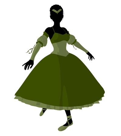 Ballerina silhouette on a white background photo