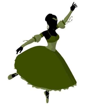 Ballerina silhouette on a white background Stock Photo - 7730698