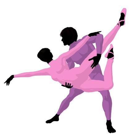 prima donna: Ballet couple silhouette on a white background Stock Photo