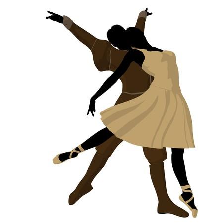 Ballet couple silhouette on a white background Zdjęcie Seryjne