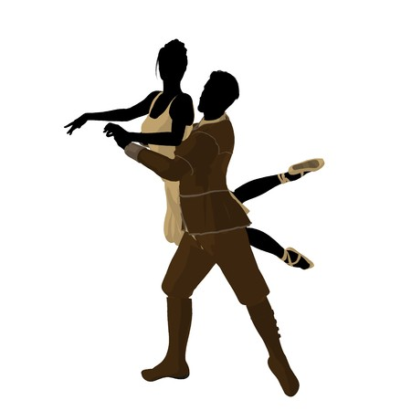 theatrical performance: Ballet couple silhouette on a white background Stock Photo