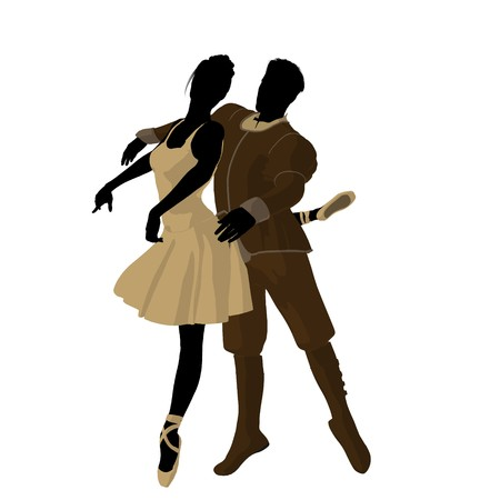 Ballet couple silhouette on a white background photo