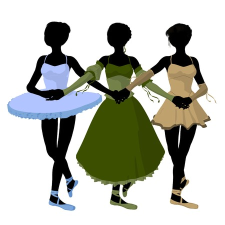 Three ballerinas holding hands on a white background photo