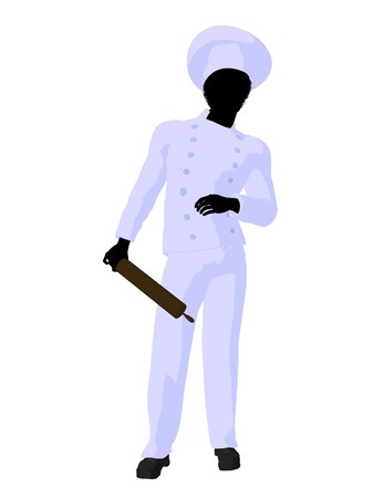 African american chef silhouette on a white background photo