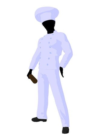 chefs cooking: African american chef silhouette on a white background Stock Photo