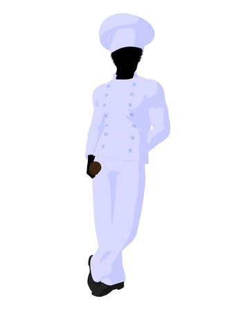 african american silhouette: African american chef silhouette on a white background Stock Photo