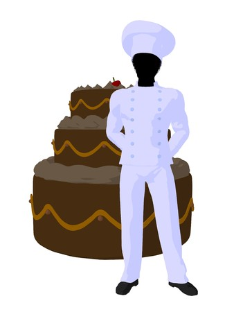 African american chef with a large cake silhouette on a white background