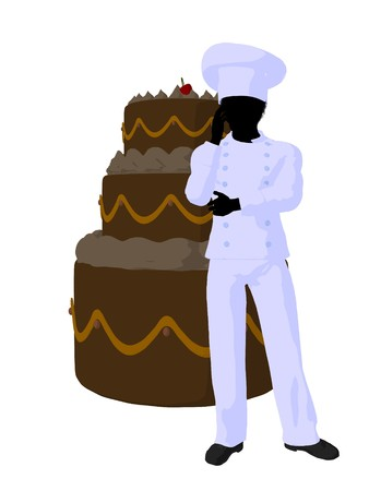 African american chef with a large cake silhouette on a white background photo