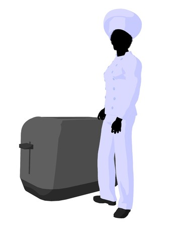 African american chef standing next to a toaster silhouette on a white background Stock Photo - 7730426