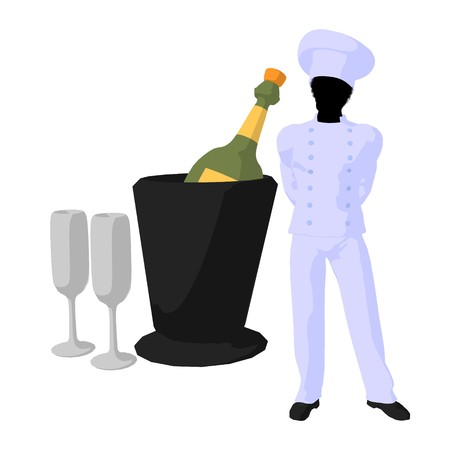African american chef and champagne silhouette on a white background photo