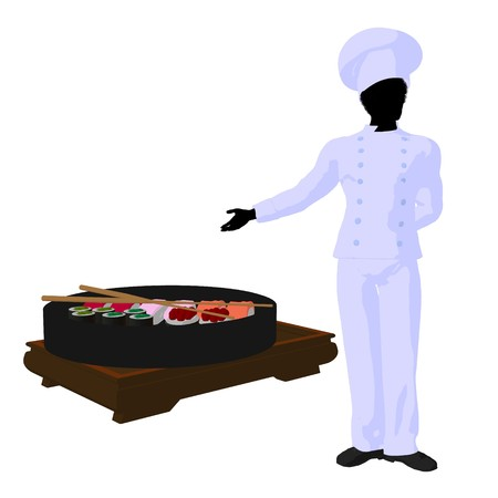 African american chef with sushi silhouette on a white background photo