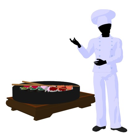 African american chef with sushi silhouette on a white background