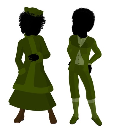 Victorian girl talking to a boy silhouette on a white background Stock Photo - 7731302
