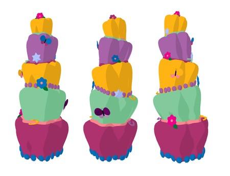 白地にカラフルなケーキを 3 つ大