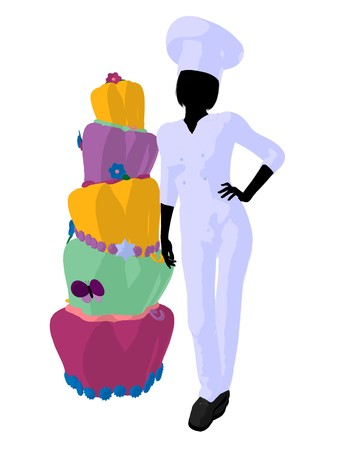 Female chef next to a cake silhouette on a white background