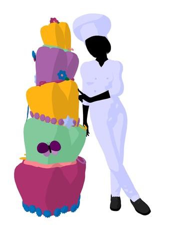 白い背景の上ケーキ シルエットの横にある女性シェフ