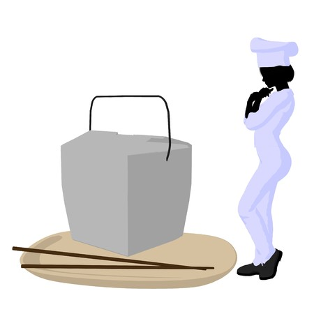 Female chef with a takout food container silhouette on a white background photo