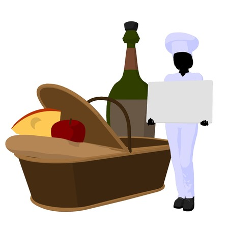Female chef with a picnic basket silhouette on a white background photo
