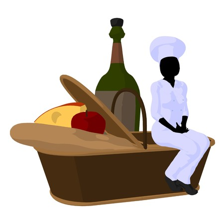 Female chef with a picnic basket silhouette on a white background Zdjęcie Seryjne