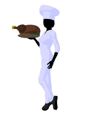 Female chef with a turkey dinner silhouette on a white background photo