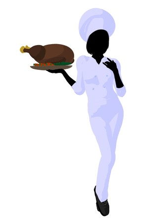 female chef: Female chef with a turkey dinner silhouette on a white background Stock Photo
