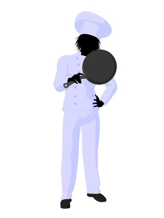 skillet: Male chef with a skillet silhouette on a white background Stock Photo