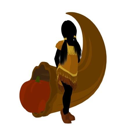 American indian with a cornocopia silhouette on a white background 版權商用圖片
