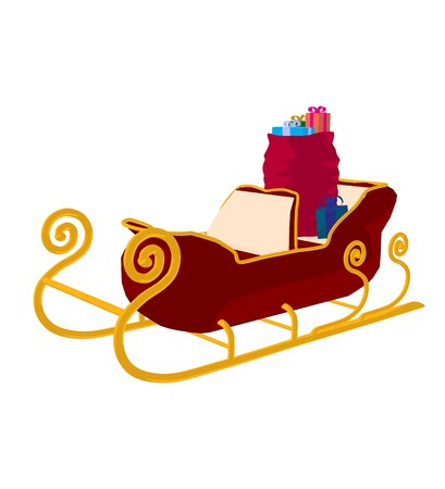 christmas sleigh: Santas christmas sleigh on a white background Stock Photo