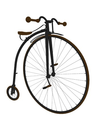 penny: Penny farthing bicycle on a white background