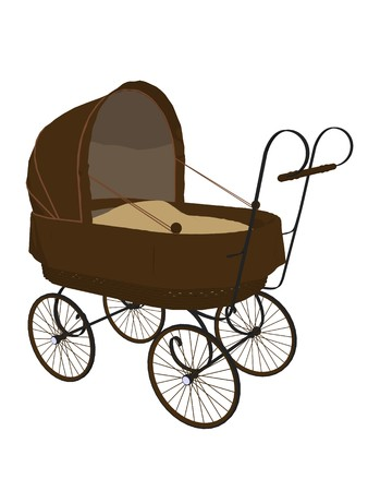 Baby carriage on a white background Stock Photo