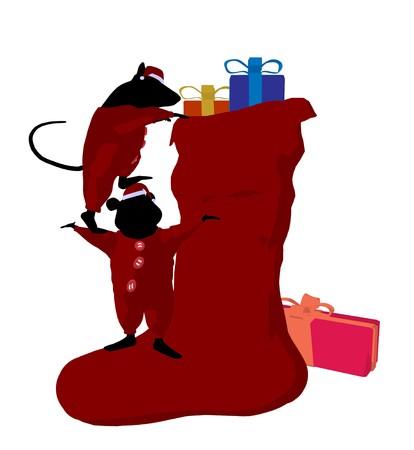 Little cute Mäuse mit Weihnachten präsentiert Silhouette auf weißem Hintergrund  Standard-Bild - 7731281
