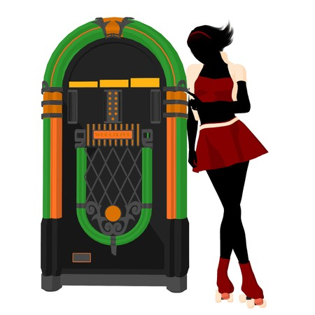 jukebox: Girl on roller skates standing near a jukebox silhouette on a white background