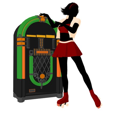 Girl on roller skates standing near a jukebox silhouette on a white background photo