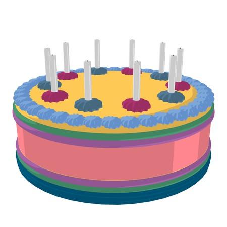 Pastel de cumpleaños sobre un fondo blanco Foto de archivo - 7942930