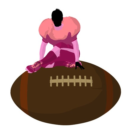 canadian football: Female football player art illustration silhouette on a white background