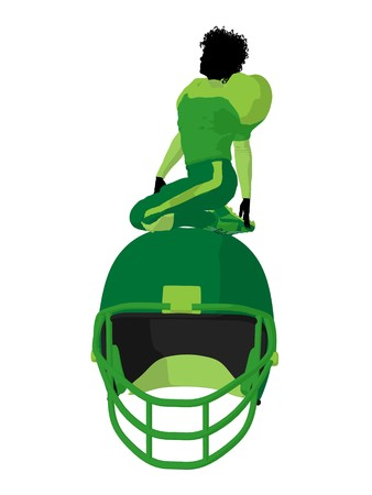 canadian football: African american female football player art illustration silhouette on a white background