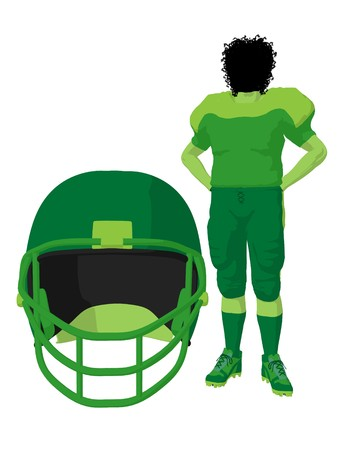 African american female football player art illustration silhouette on a white background Zdjęcie Seryjne - 7943147