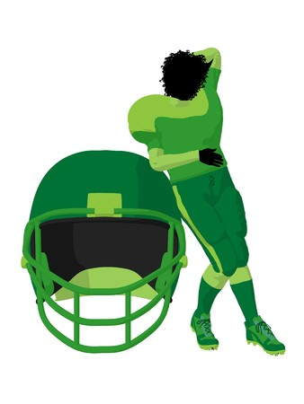 African american female football player art illustration silhouette on a white background Zdjęcie Seryjne - 7943151