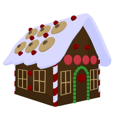 Ginger bread house on a white background Banco de Imagens