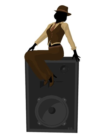 Female jazz musician on a speaker on a white background