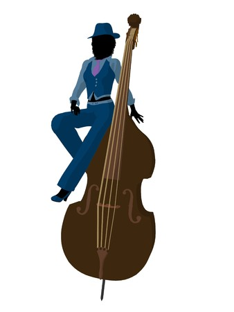 African american jazz player on a bass on a white background photo
