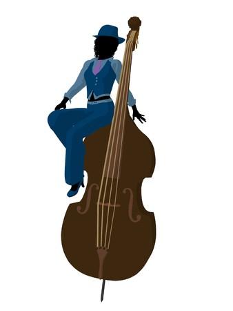 muscian: Jugador Africano Americano de jazz en un bajo sobre un fondo blanco Foto de archivo