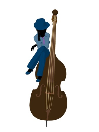 muscian: African american jazz player on a bass on a white background