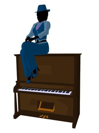 muscian: M�sico de jazz americano africano en un piano sobre un fondo blanco Foto de archivo